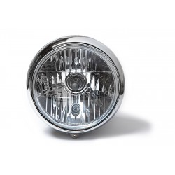 7 Inch Headlight clear lens black / chrom grooved