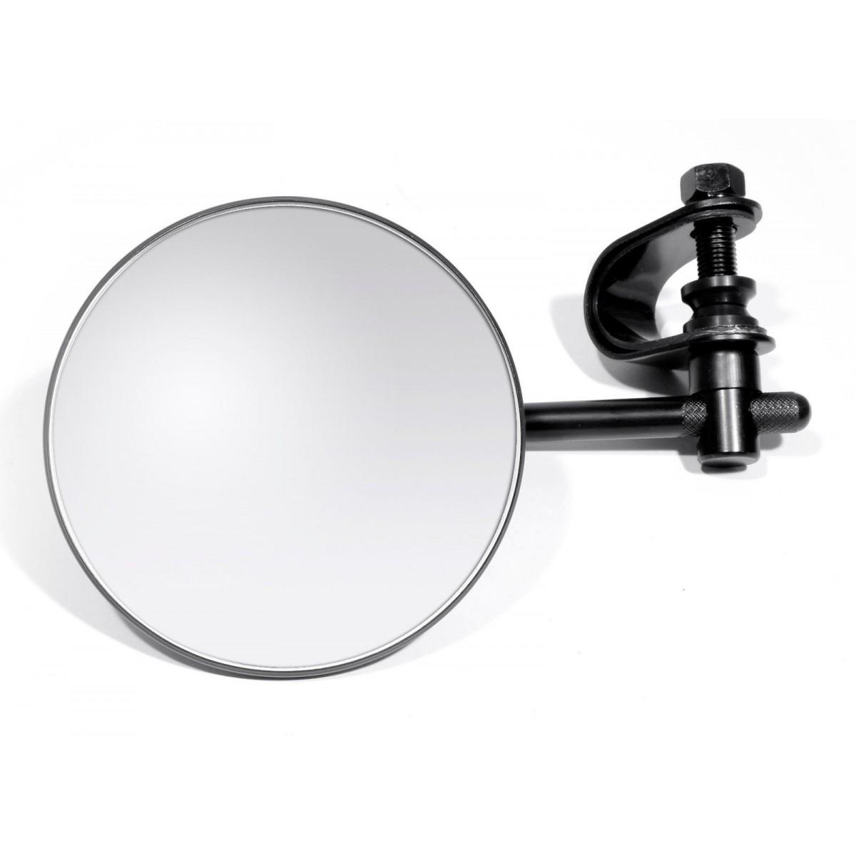 Schwarzer spiegel mit lenkerklemme f r harley bobber chopper for Spiegel rund schwarz