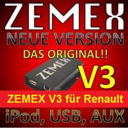 ZEMEX V3 ipod/iphone Adapter für Renault + Bluetooth + USB Anschluss