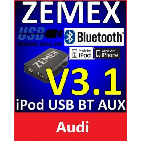 ZEMEX V3.1 ipod/iphone Adapter für Audi + Bluetooth + USB Anschluss