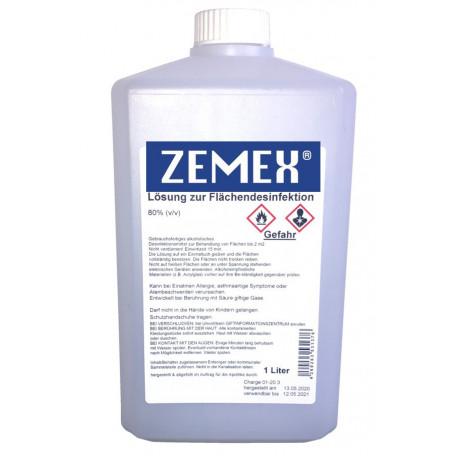 ZEMEX® Oberflächen Desinfektionsmittel WHO EN1500 1000ml Drehverschluß