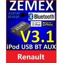 ZEMEX V3.1 ipod/iphone Adapter für Renault + Bluetooth + USB Anschluss