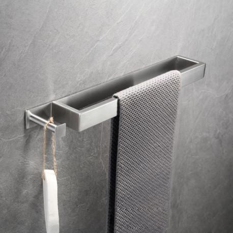 ZEMEX® Bad Handtuchstange mit Haken Handtuchhalter Edelstahl Selbstklebend 40cm