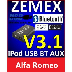 ZEMEX V3.1 ipod/iphone Adapter für Alfa Romeo + Bluetooth + USB