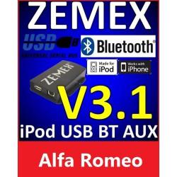 ZEMEX V3.1 ipod/iphone Adapter für Alfa Romeo + Bluetooth + USB