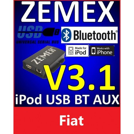 ZEMEX V3.1 ipod/iphone Adapter für Fiat + Bluetooth + USB Anschluss