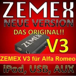 ZEMEX V3 ipod/iphone Adapter für Alfa Romeo + Bluetooth + USB Anschluss