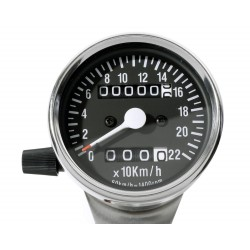 Mini Tachometer 2:1 chrom / schwarz 60 mm