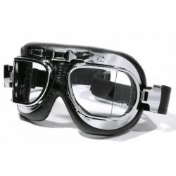 Motorrad Brille Fliegerlook chrom abgewinkelt