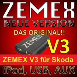 ZEMEX V3 ipod/iphone Adapter für Skoda + Bluetooth + USB Anschluss