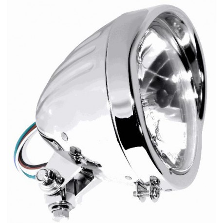 5 3/4 Zoll Scheinwerfer Klarglas chrom gerippt Visor