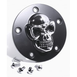 Zündungsdeckel Harley ab 99 3D Totenkopf chrom / schwarz