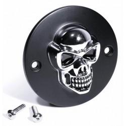 Zündungsdeckel Harley ab 1970 3D Totenkopf chrom / schwarz