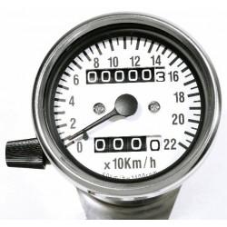 Mini Tachometer 2:1 weiss 60 mm 220 km/h